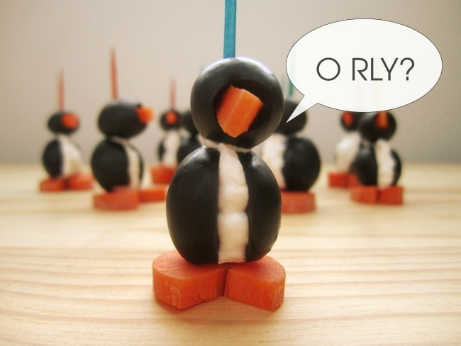 Olive and Cream Cheese Penguins - Eat. Drink. Love.