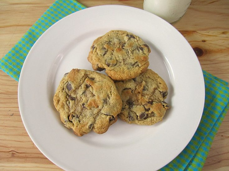 low-fat chocolate chip cookies on a white plate