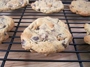low-fat chocolate chip cookies on a cooling rack
