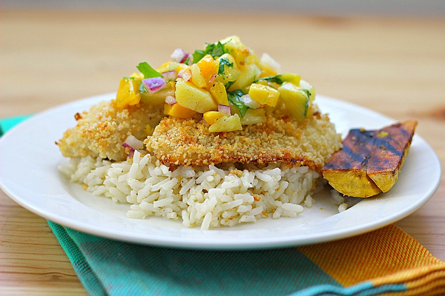 Macadamia Crusted Tilapia with Mango Pineapple Salsa - Eat. Drink ...