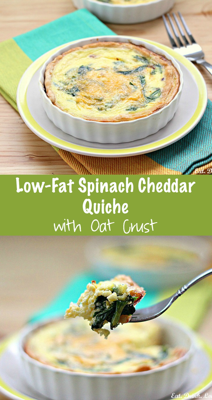 Low-Fat Spinach Cheddar Quiche