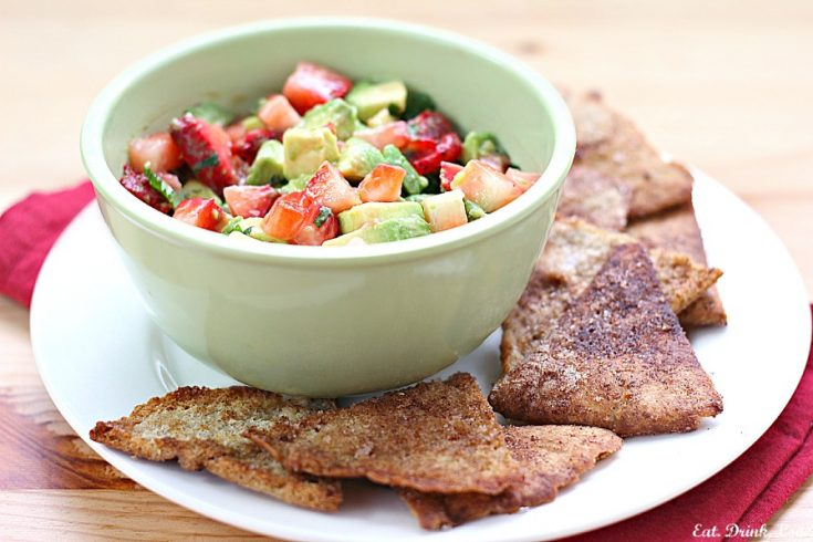 Strawberry Avocado Salsa with Cinnamon Sugar Tortilla Chips