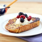 Challah French Toast with Lemon Mascarpone Topping