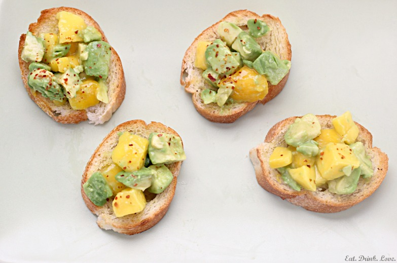 Avocado and Mango Crostini