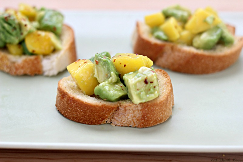 Avocado and Mango Crostini
