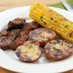 Grilled Flank Steak with Butter Chive Potatoes