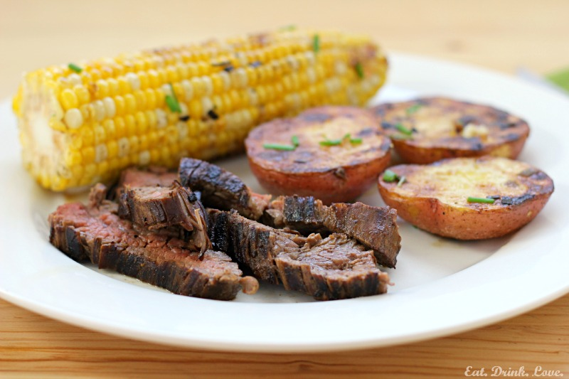 Grilled Flank Steak with Butter Chive Grilled Potatoes