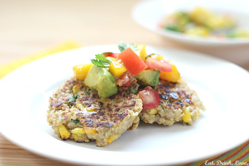Quinoa Corn Cakes with Peach, Avocado, and Tomato Salsa