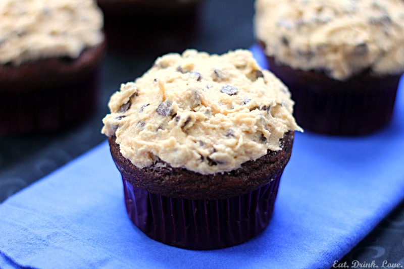 Chocolate Cupcakes with Chocolate Chip Cookie Dough Frosting