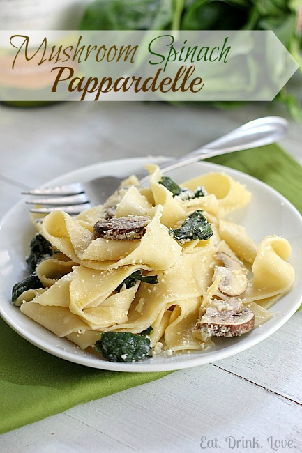 Mushroom Spinach Pappardelle