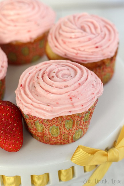 Vanilla Cupcakes with Strawberry Frosting