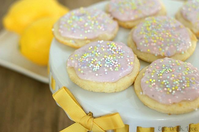 Lemon Yogurt Cookies with Blueberry Frosting