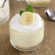 No-Bake Banana Cream Cheesecakes - layers of graham cracker crust, no-bake banana cream cheesecake filling