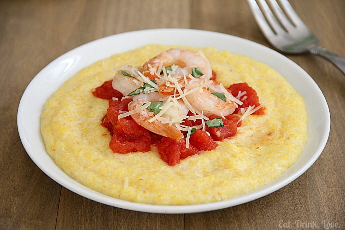 Shrimp and Tomatoes over Creamy Parmesan Polenta