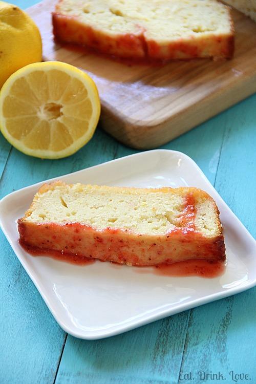 Low-Fat Lemon Pound Cake with Strawberry Glaze