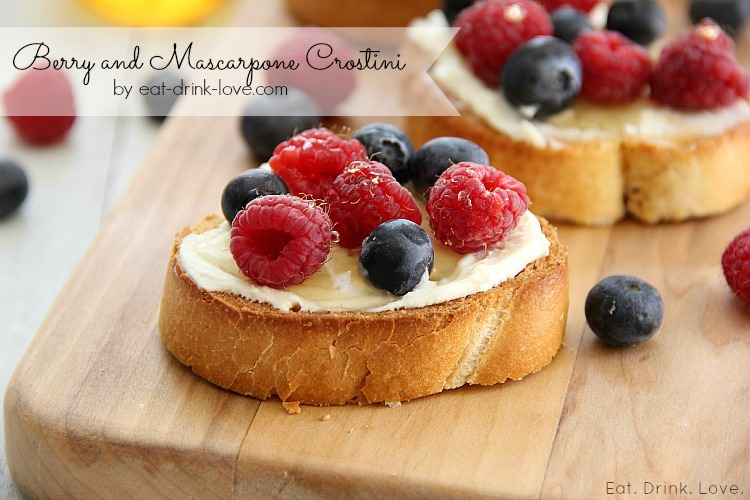 Berry and Mascarpone Crostini on a wooden board