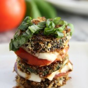 Baked Zucchini Stack with tomato and cheese and basil