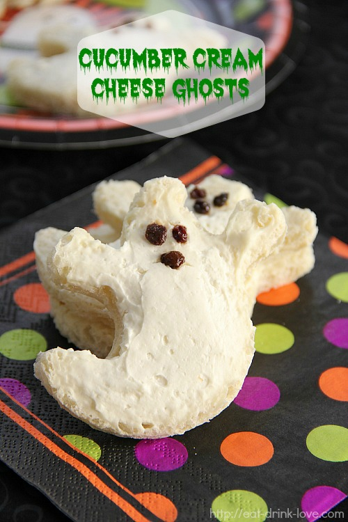 Cucumber Cream Cheese Ghosts