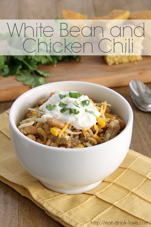 White Bean Chicken Chili in a bowl with sour cream on top