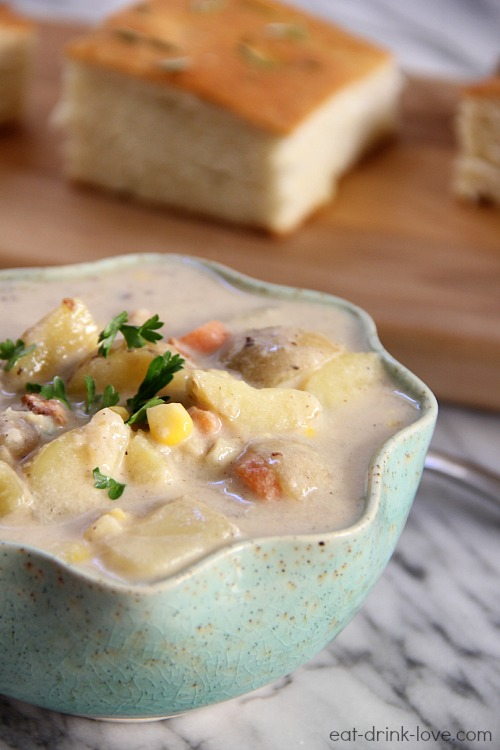 Low-Fat Corn and Potato Chowder in a blue bowl