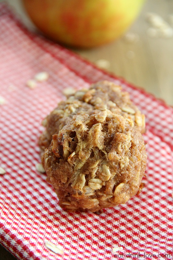 Apple Cinnamon Breakfast Cookies stacked on a red and white napkin