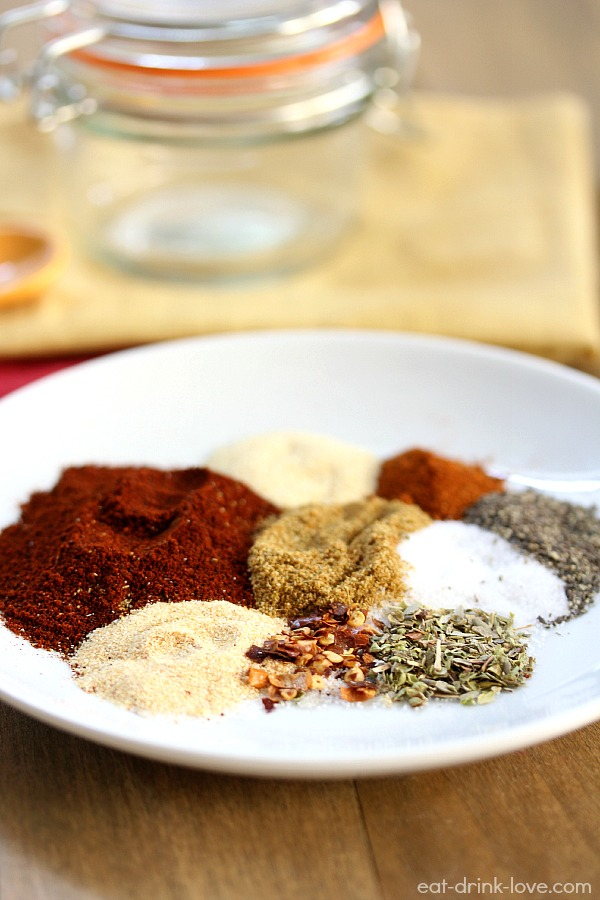 Homemade Taco Seasoning spices on a white plate