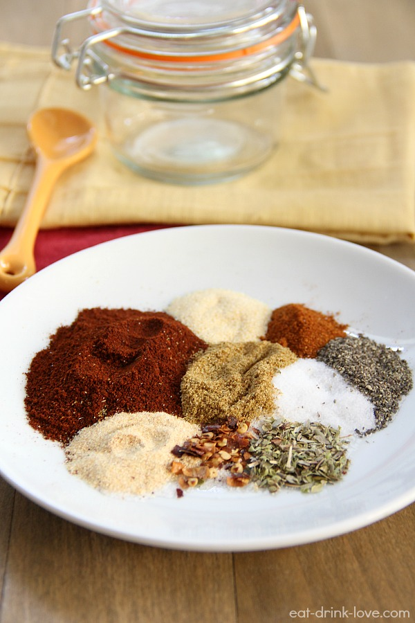 Homemade Taco Seasoning spices on a white a plate