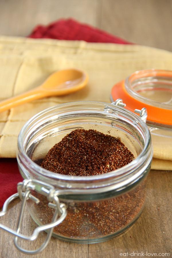 Homemade Taco Seasoning in a clear glass jar