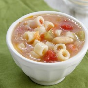 Pasta e Fagioli in a small white bowl