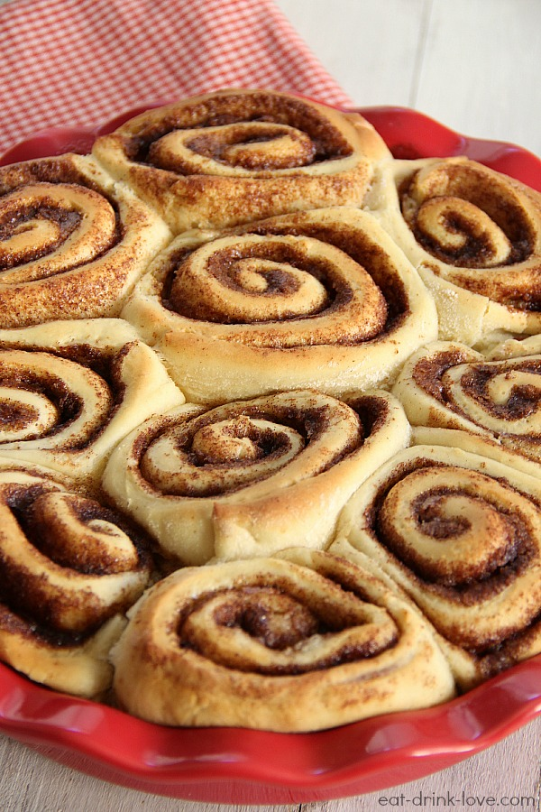 1-Hour Cinnamon Rolls baked in a red pie dish