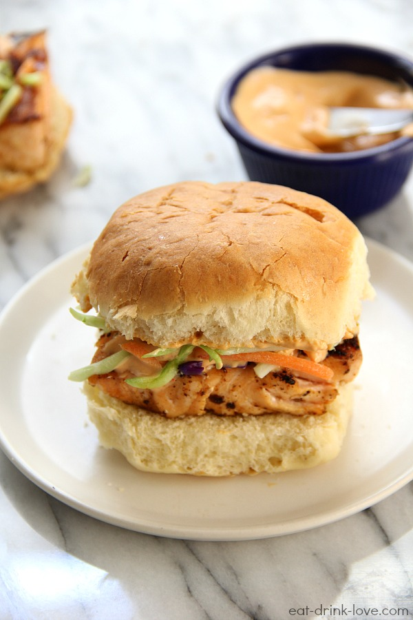 Grilled Salmon Sliders with Chipotle Mayo