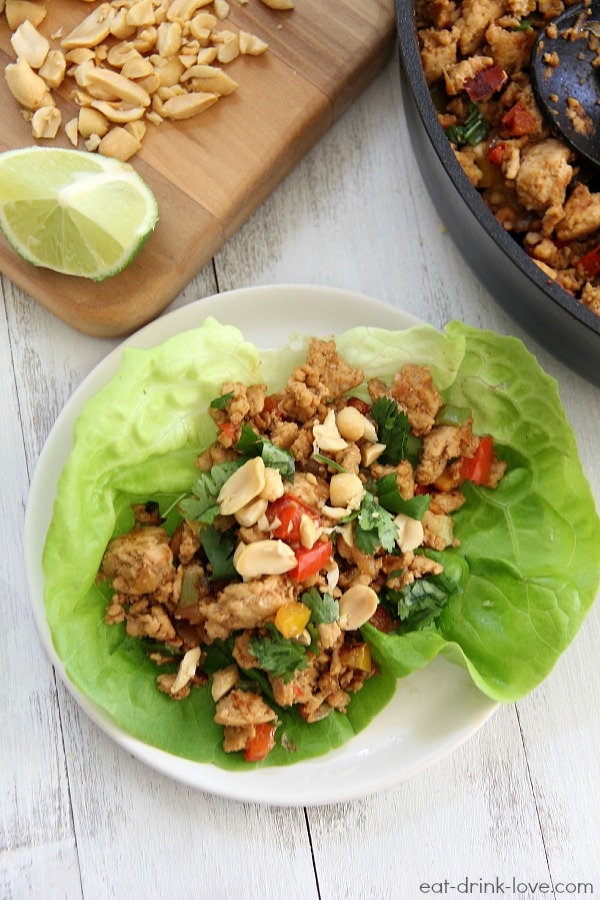 Thai Peanut Chicken Lettuce Wraps