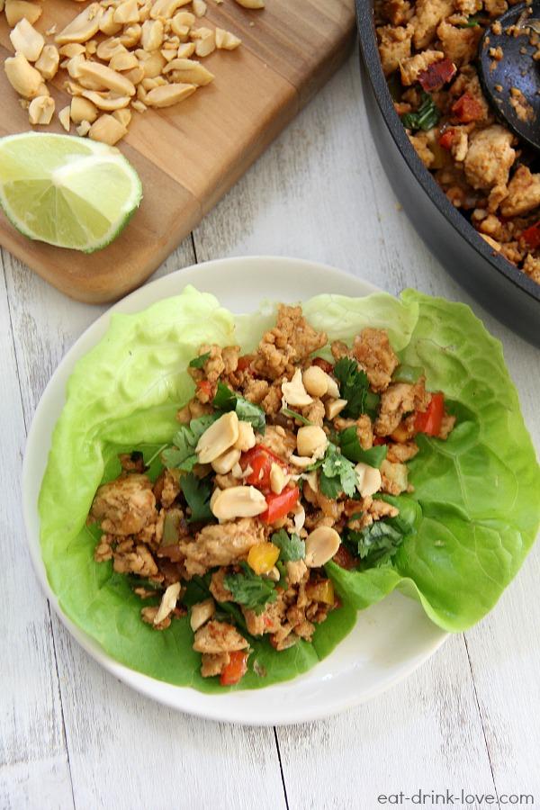 Thai Peanut Chicken Lettuce Wraps - Eat. Drink. Love.
