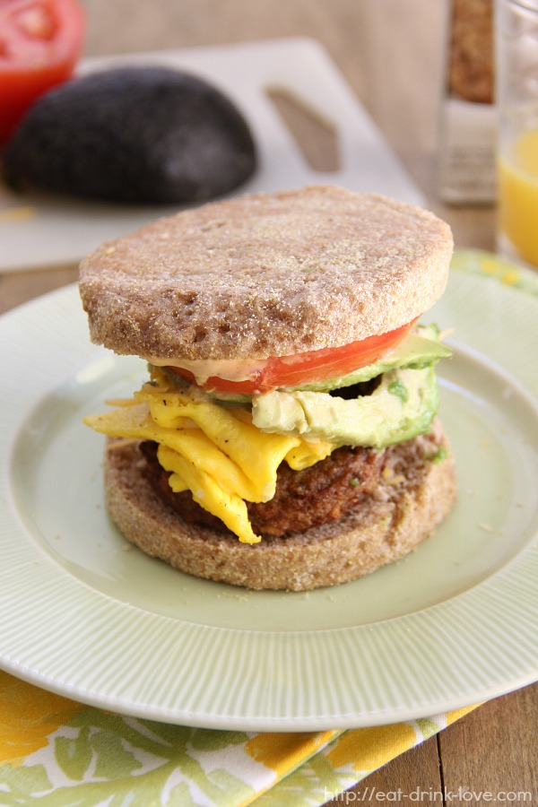 Veggie Breakfast Sandwich on a plate