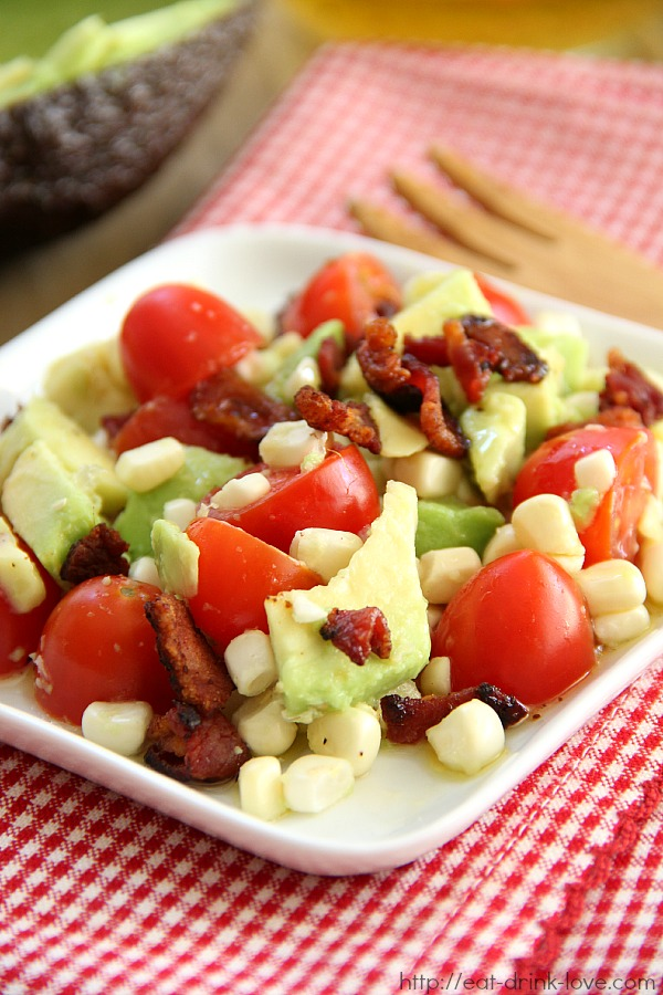 Corn, Tomato, and Avocado Salad with Bacon Vinaigrette