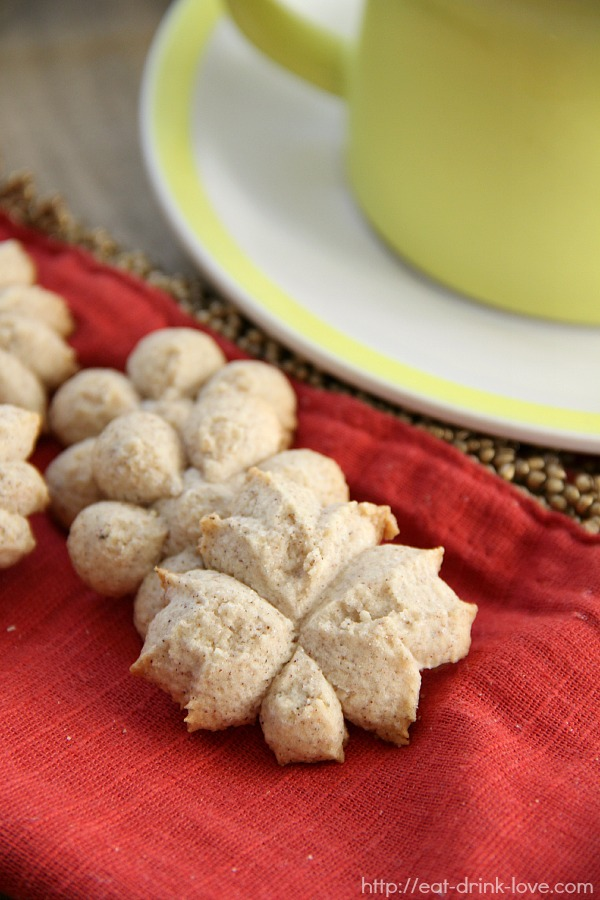 Chai Spice Spritz Cookies on a red napkin