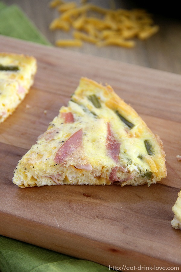 Ham, Asparagus, and Cheddar Frittata - Eat. Drink. Love.