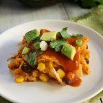 Chicken Enchilada Casserole - tortillas layered with cheese chicken, corn, black beans, and enchilada sauce