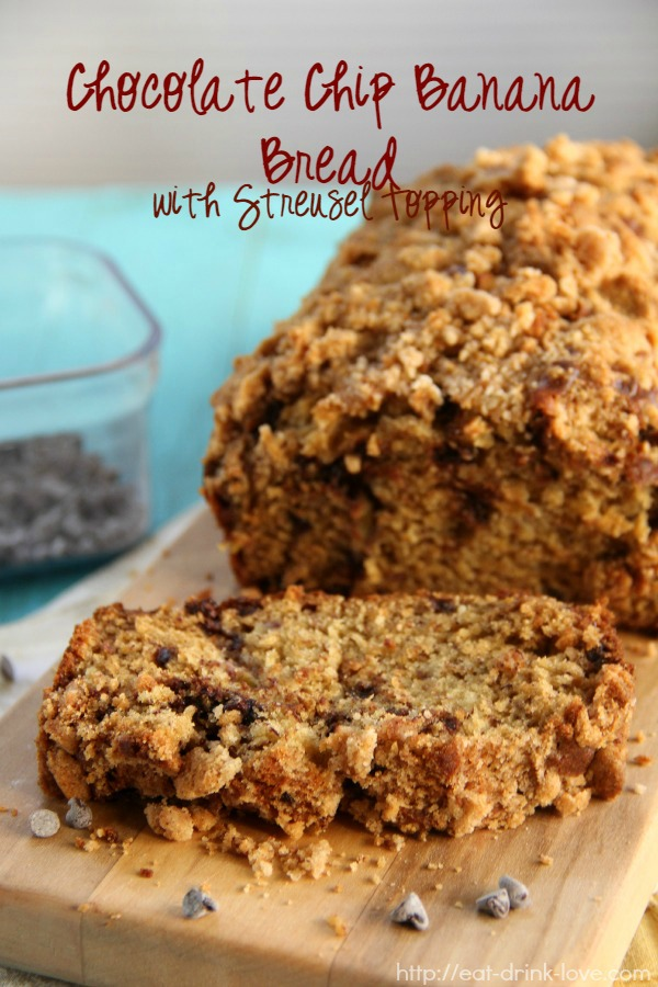 Chocolate Chip Banana Bread with Streusel Topping sliced