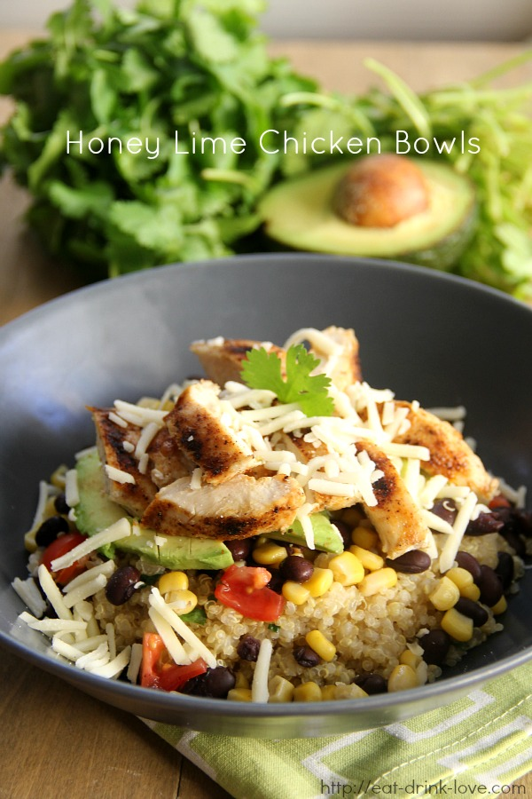 Honey Lime Chicken Burrito Bowls with quinoa, black beans, corn, and avocado