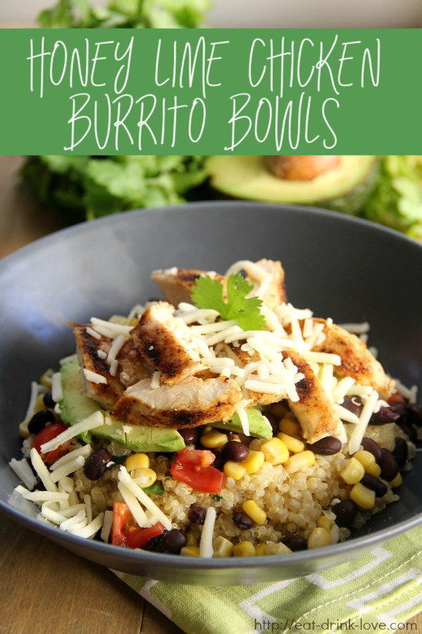 Honey Lime Chicken Burrito Bowl with chicken, quinoa, black beans, corn, and avocado!