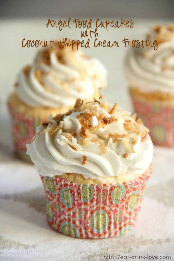 Angel Food Cupcakes with Coconut Whipped Cream Frosting
