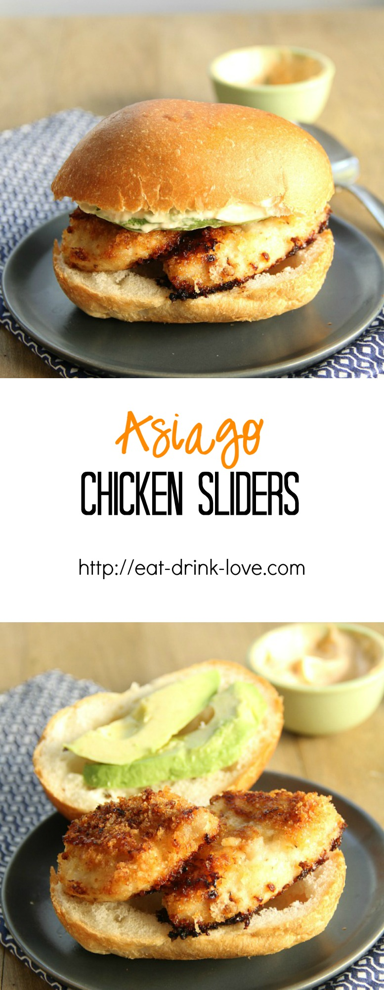Asiago Chicken Sliders - asiago-breaded chicken on slider buns with an easy chipotle sauce