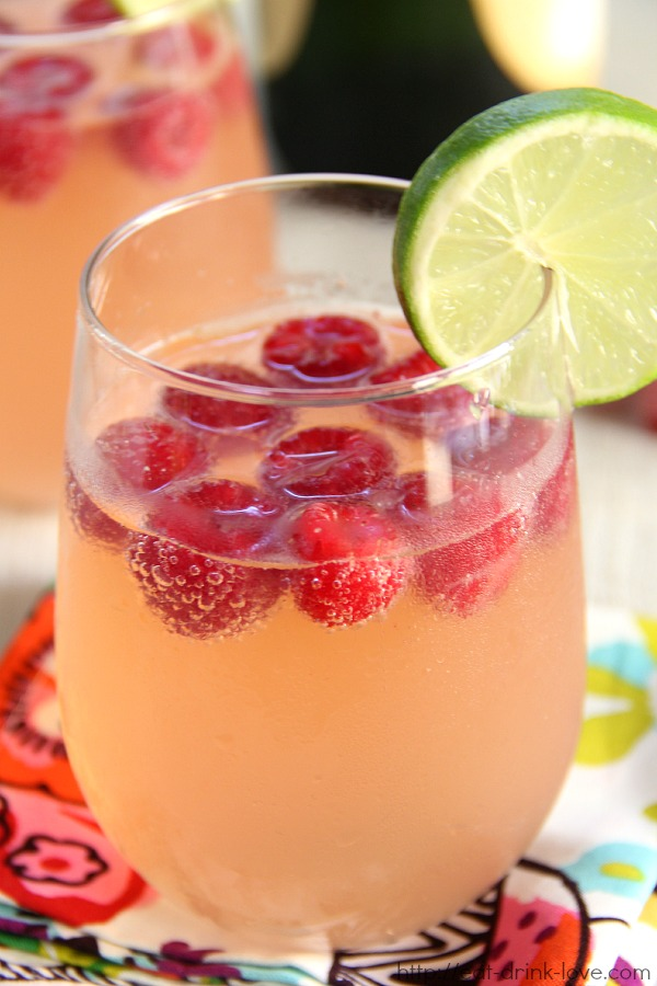 Raspberry Lemonade Champagne Punch - Eat. Drink. Love.