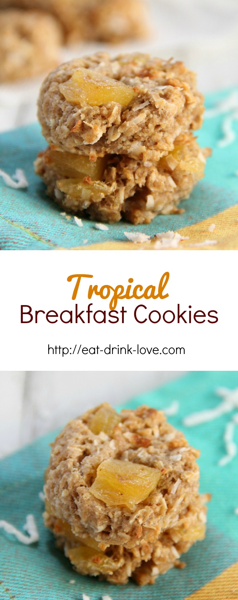 Tropical Breakfast Cookies stacked with dried pineapple and mango and pineapple on a teal napkin