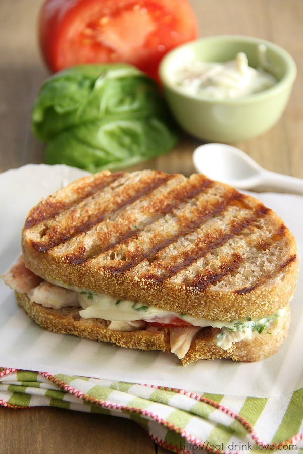 Chicken, Tomato, & Mozzarella Panini with Basil Mayo