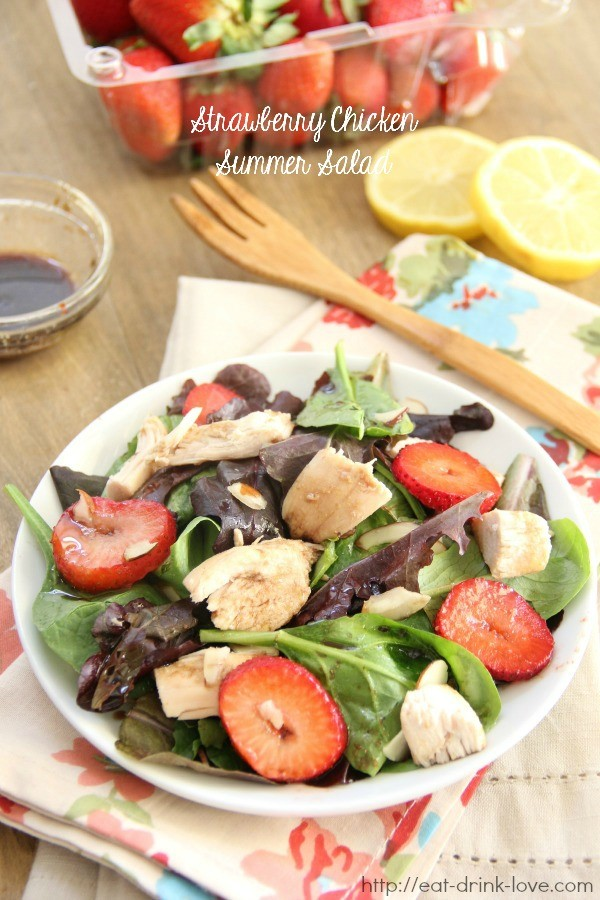 Strawberry Chicken Summer Salad on plate