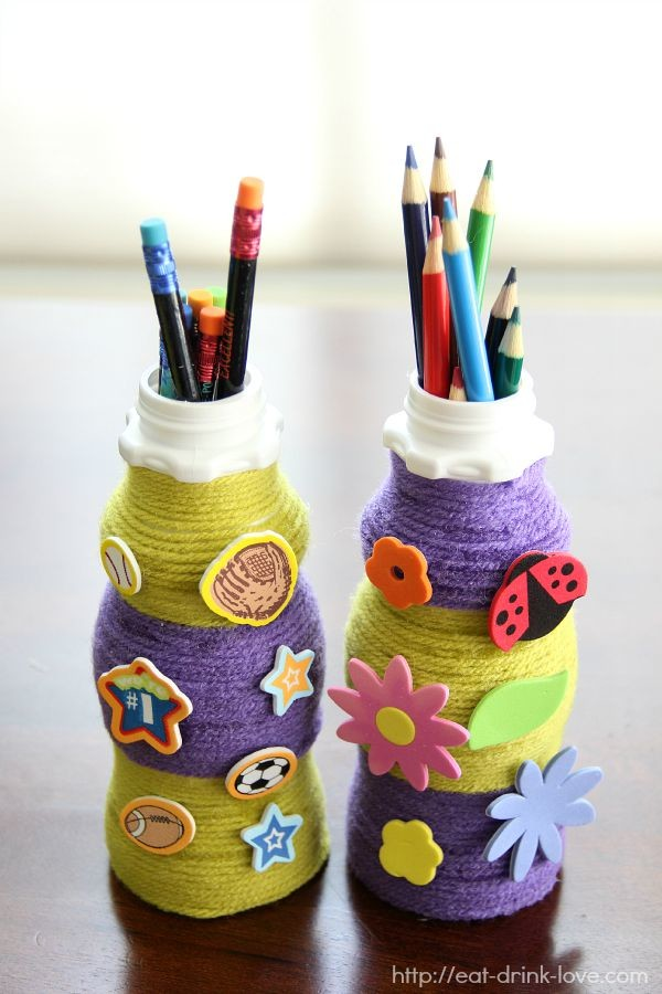 Milk Bottle Pencil Holders