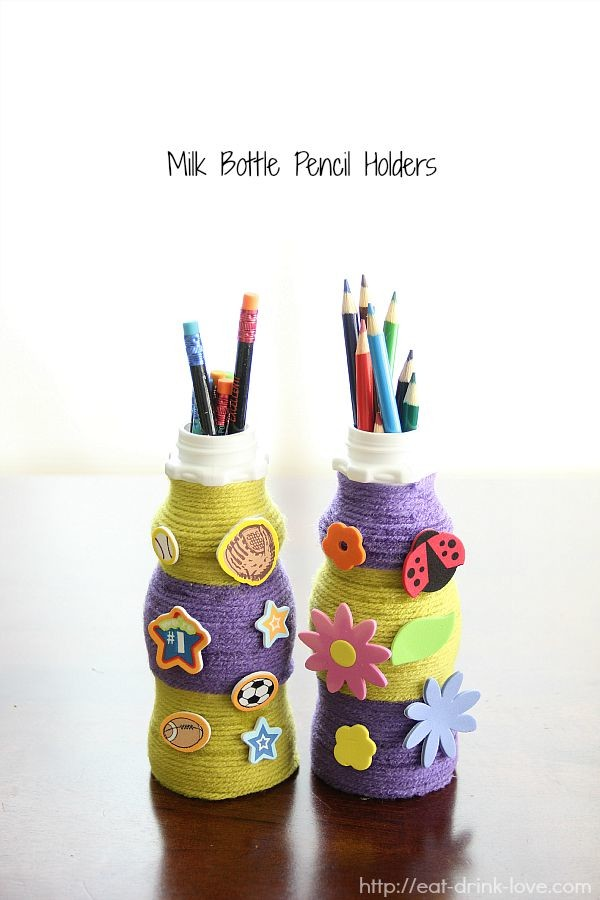 Milk Bottle Pencil Holders