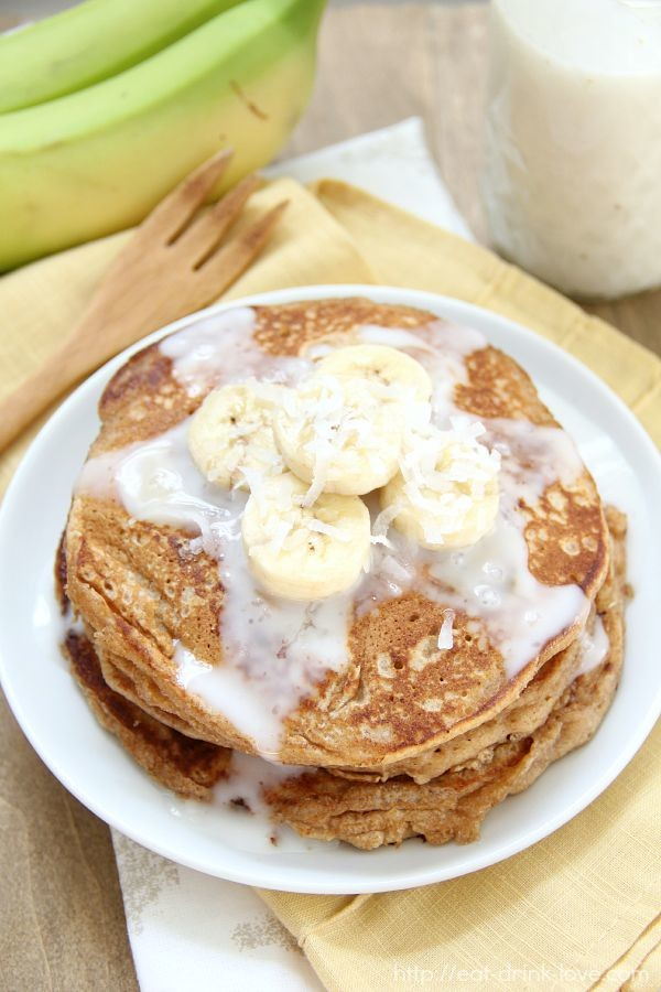 Whole Wheat Banana Pancakes with Coconut Syrup